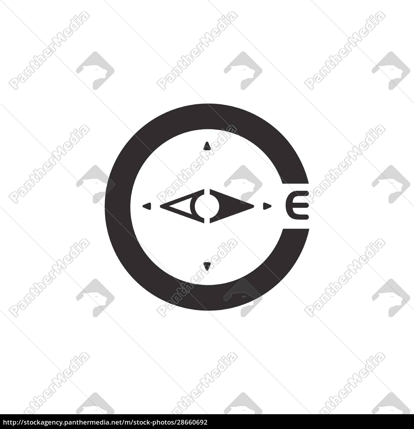 compass., east, direction., icon., weather, glyph - 28660692