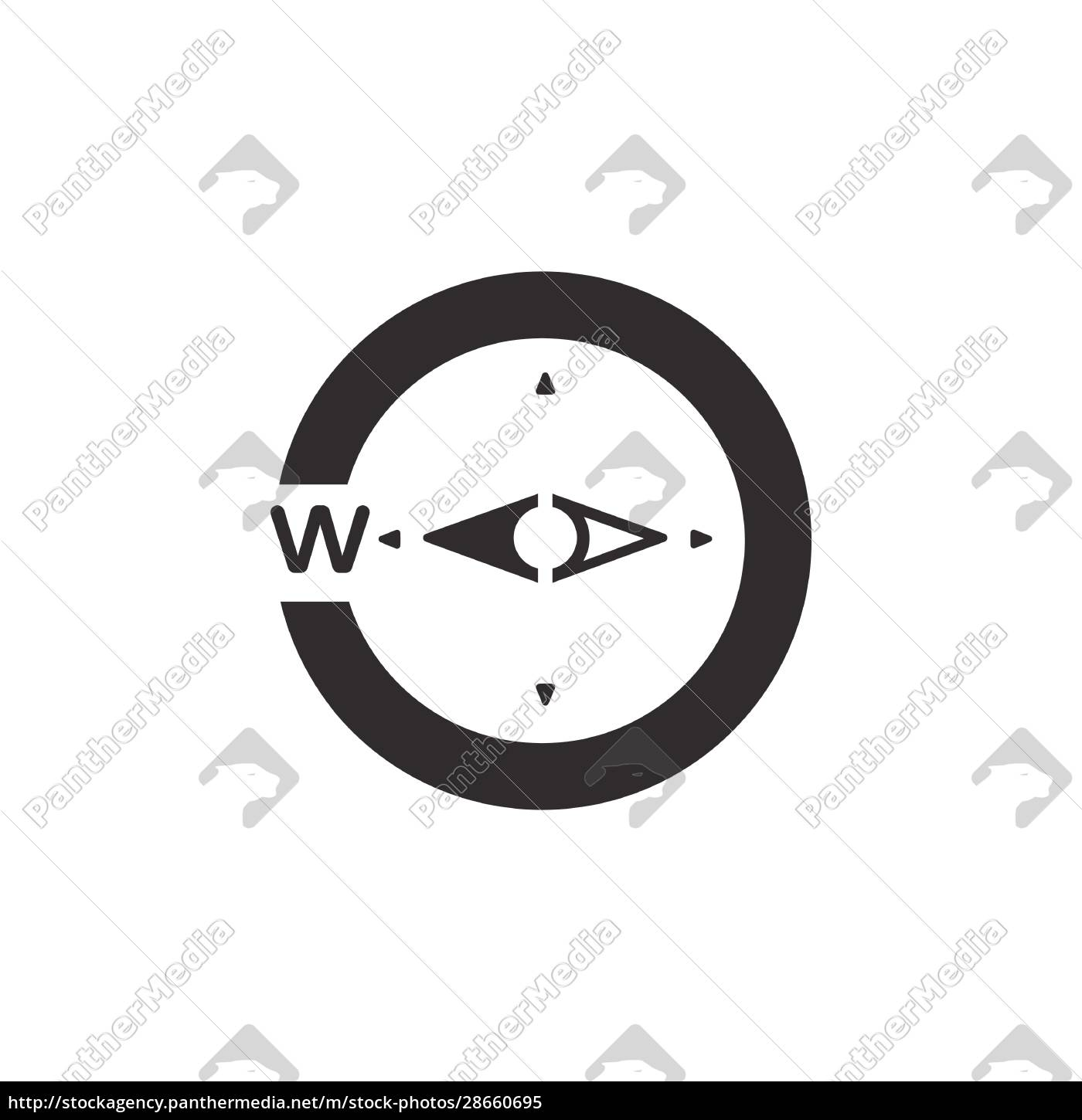 compass., west, direction., icon., weather, glyph - 28660695