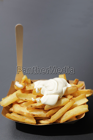 portion pommes frites mit mayonaise in