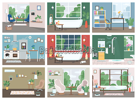 smart home flat color vector illustrations