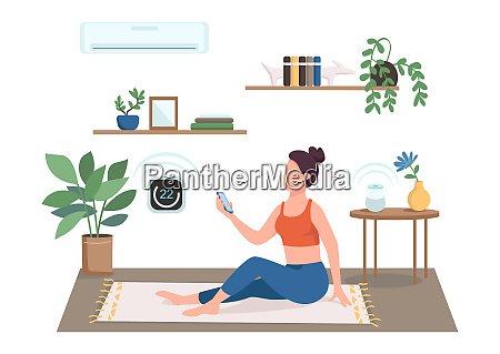 woman controlling air conditioning flat color