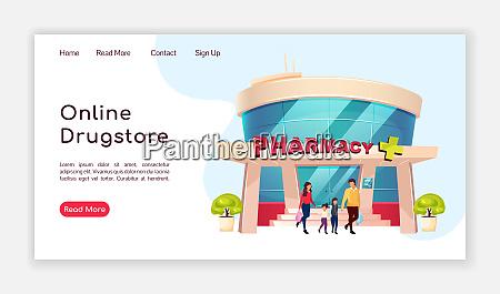 online drugstore landing page flat color