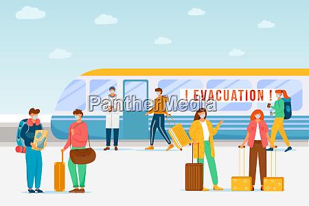emergency train evacuation flat color vector