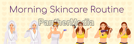 woman morning skincare routine flat color
