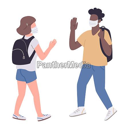 students in medical masks flat color
