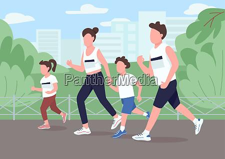 family run marathon flat color vector