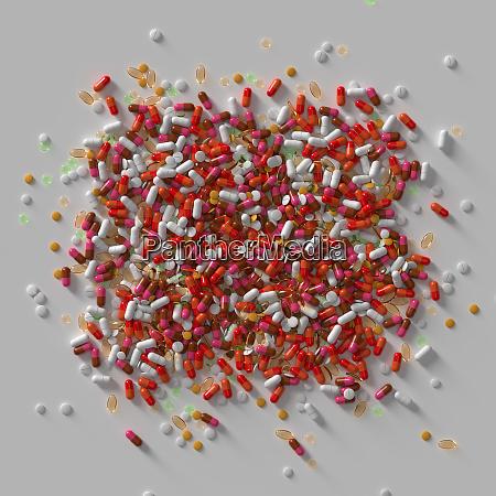 3d render of medicine pills abstract