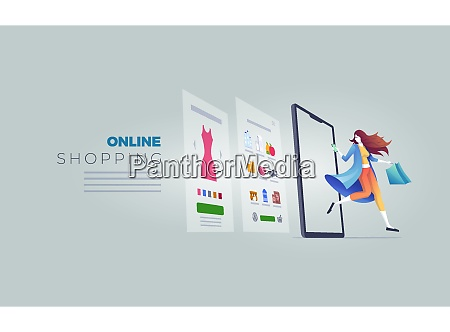 online shopping cocept vector illustration