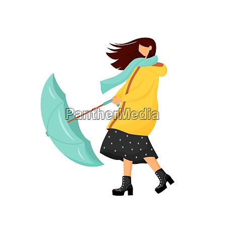 woman with umbrella at storm flat