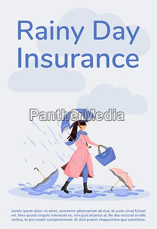 rainy day insurance poster flat vector