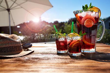 summer drink on sunny terrace
