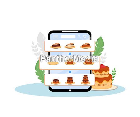 online cakes order mobile application flat