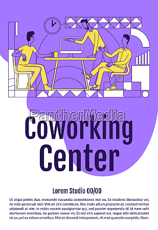 coworking poster flat silhouette vector template