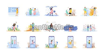 seasonal flat concept vector illustrations set