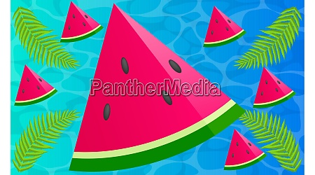 sliced watermelon with leaves on abstract