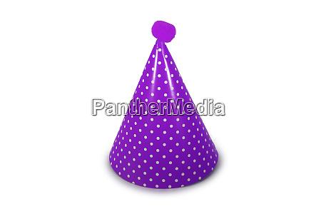 a purple birthday hat on a