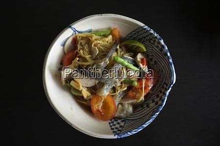 papaya salad with vietnamese pork roll
