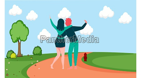 couple is hugging and walking in