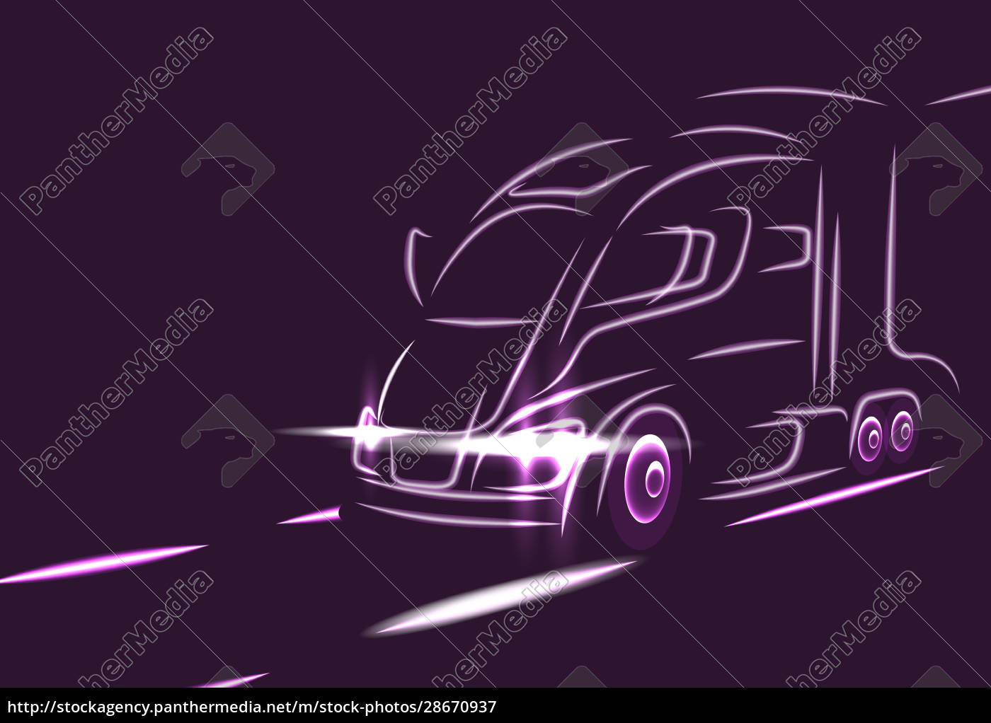 neon, silhouette, of, a, truck, on - 28670937