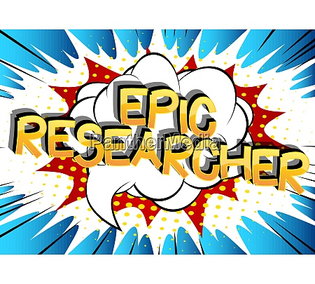 epic researcher comic book style cartoon