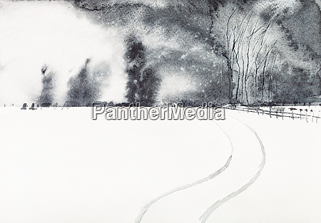 snow covered field and village in