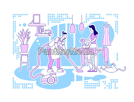 house chores flat silhouette vector illustration