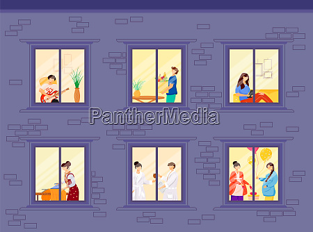evening neighbors routine flat color vector