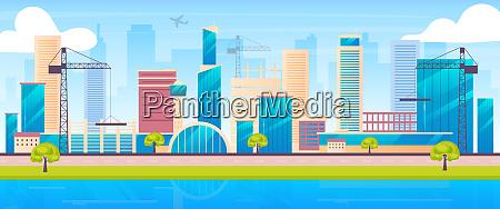 metropolis skyline flat color vector illustration