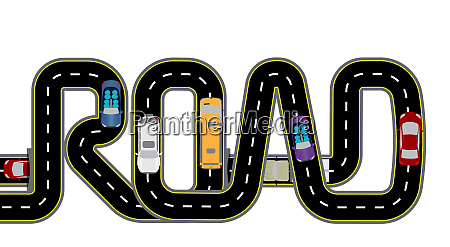 road cars highway stylized inscription
