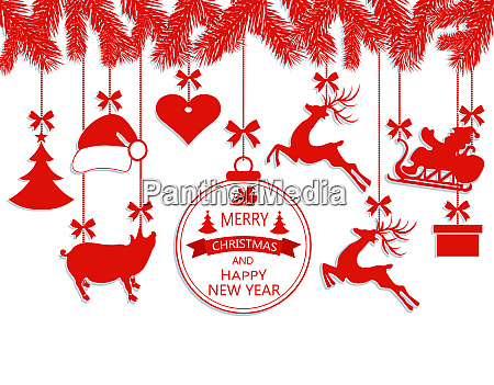 new year christmas various decorations hanging