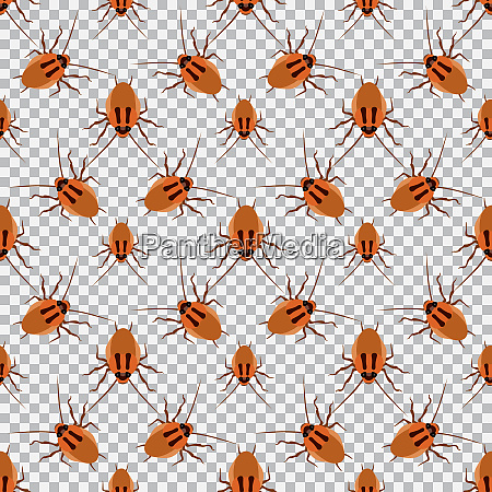 seamless pattern cockroach on a checkered