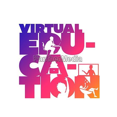 virtual education concept typographic design