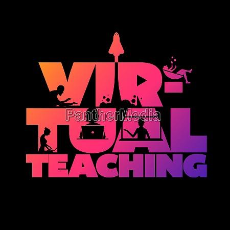 virtual teaching concept typographic design