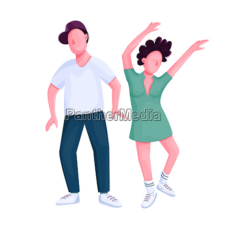 couple dancing together flat color vector