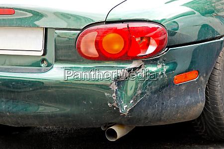 crashed car bumper