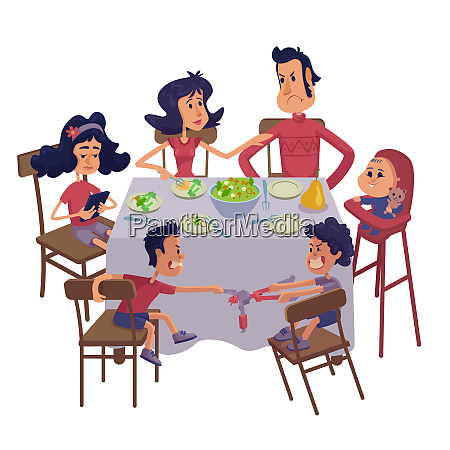 family together having meal flat cartoon