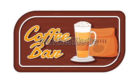 coffee bar flat color vector label