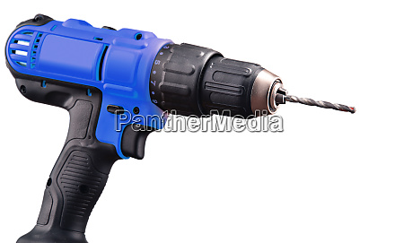 cordless drill with drill bit working