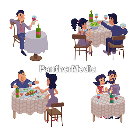 couples eating together flat cartoon vector