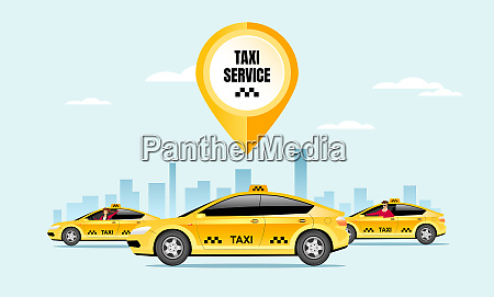 taxi service flat color vector illustration