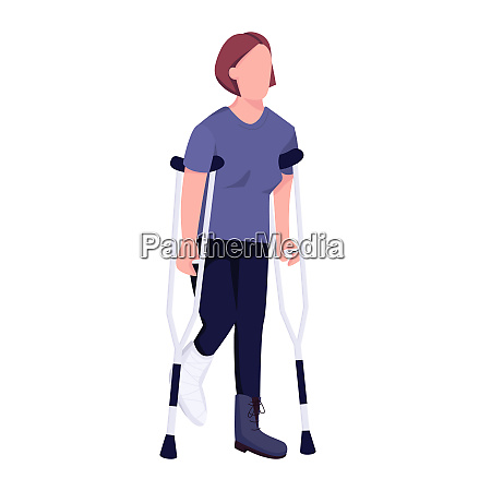 injured woman on crutches flat color