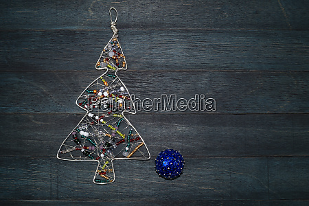rustic christmas decoration on wood