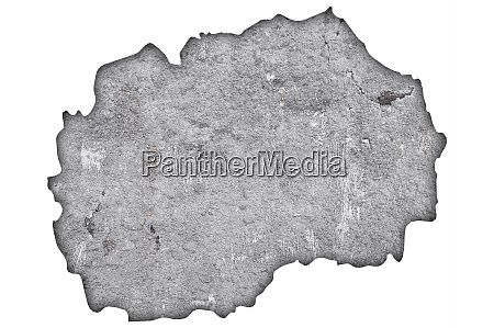 map of north macedonia on weathered