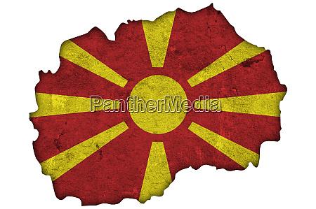 map and flag of north macedonia