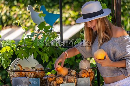pretty woman at organic food market