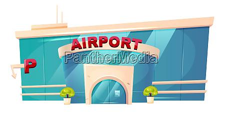 airport exterior cartoon vector illustration