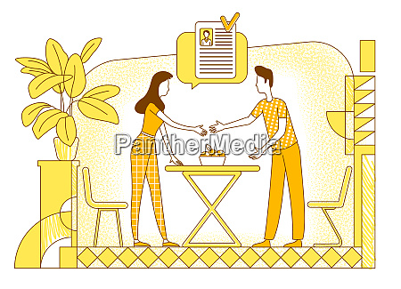 choosing suitable applicant flat silhouette vector