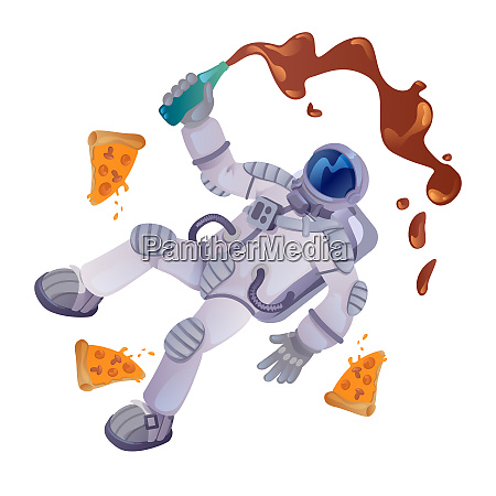 cosmonaut with food cartoon vector illustration