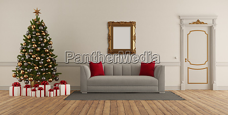 classic style living room with christmas