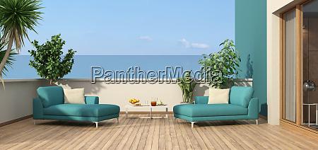 beautiful terrace overlooking the sea